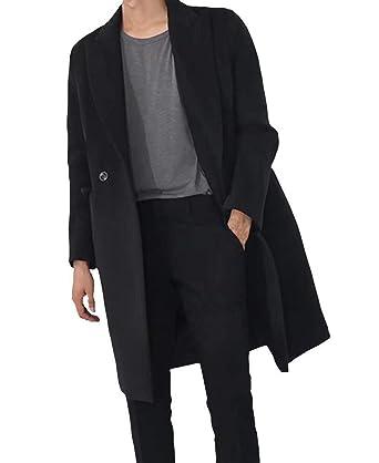09e3c744d054 Herren Zweireiher Lange Mantel Seemannsjacke PEA Coat Wolle Kleidung  Mischung Tweed Jacke Cabanjacke Schwarz (Color