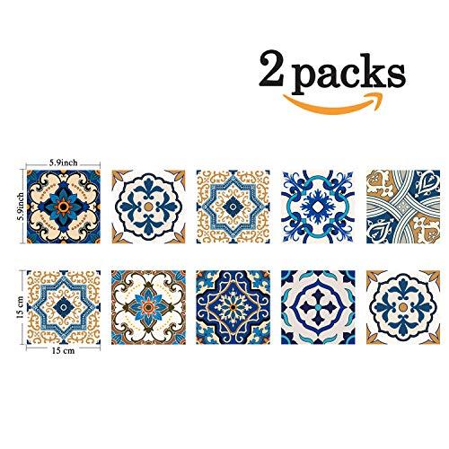 (Poromoro Spanish Portuguese Azulejo Style Peel and Stick Tile Stickers Set of 20/30/40 pcs (5.9x5.9,)