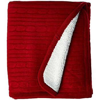 """Brielle Cozy Cable Knit Throw with Sherpa Lining, 50"""" by 60"""", Red"""