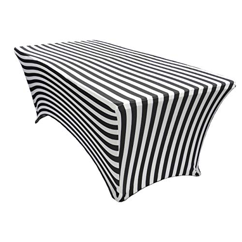 - Your Chair Covers - Stretch Spandex 6 ft Rectangular Table Cover - Black/White Striped, 72
