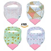 Pickle & Olive Baby/Toddler Bandana Teething Bibs With Attached BPA-Free Silicone Teether, Set Of 4, Water-Resistant, Adjustable Snaps, No Velcro, Best Unique Baby Shower Gift For New Moms, Pink/Green