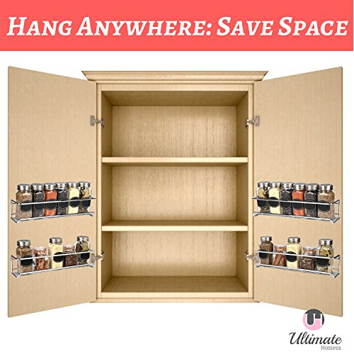 Spice Rack Organizer for Cabinet, Door Mount, or Wall Mounted - Set of 4 Chrome Tiered Hanging Shelf for Spice Jars - Storage in Cupboard, Kitchen or Pantry - Display bottles on shelves, in cabinets by Ultimate Hostess (Image #5)