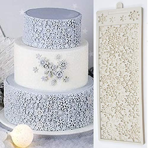 - 3D Full Snowflake Cake Silicone Embossing Mat Fondant Impression Textured Lace Mat Cake Border Brim Decorating Mold Icing Candy Sugar Gum Paste Moulds Cake Craft Imprint Baking Moulds Bakeware Pan
