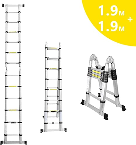 ZF Escalera telescópica Escalera Plegable Escalera Extensible telescópica diseño 150 Capacidad de Carga kg Antideslizante Escalera Plegable 6 6 Pasos para Uso de la Oficina de construcción,1.9 1.9m: Amazon.es: Hogar