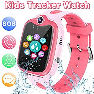 [IP67 Waterproof Phone Watch] Smartwatch for Kids, GPS Tracker with SOS Alarm Clock Game Wrist Smart Watch for Girls…