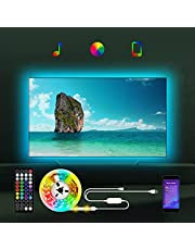 USB Led Strip Lights for TV, 16.4FT Behind TV Led Backlight with Music Sync/APP Control via Bluetooth/ Remote Control for 55 65 70 75 82 85 inch TV