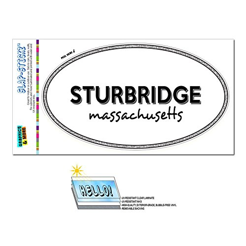 (Graphics and More Euro Oval Window Bumper Laminated Sticker Massachusetts MA City State Pep - Wak - Sturbridge)