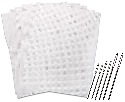 Plastic Sewing Canvas - Clear Plastic Mesh Canvas Kits #7, 6 Sheets. with 6 Large Eye Blunt Needles, Sizes 13, 14 and 16, 2 of Each Size. (Plastic Canvas & Needles)