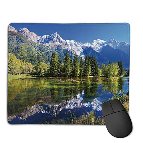 - Premium Mouse Pad with Waterproof, Non Slip & Elegant Stitched Edges,Outdoor,Snowy Mountains Evergreen Spruce Reflected in Lake City Park Chamonix France,Blue Green White,Consoles More Enjoy Precis