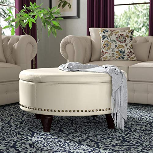 Leather Storage Ottoman, Round With Nailhead Trim, Accent Living Room Coffee Table (Cream)