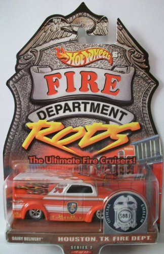 Hot Wheels Fire Department Rods Dairy Delivery 1:64 Scale Collectible Die Cast Car Hot Wheels Fire Rods