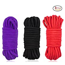 SUNREEK 3-Pack 32 Feet 10M Soft Twisted Cotton Rope( Black,Red and Purple)