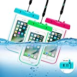 Waterproof Case, 3 Pack Universal Cell Phone Dry Bag Floating Pouch for iPhone 8, 7 Plus, 6s, 6s Plus, 5s, se, Galaxy S8 S7 Edge, Note 4 3, LG G6 G5 G4, HTC One X, Smartphone Devices Up To 6.0