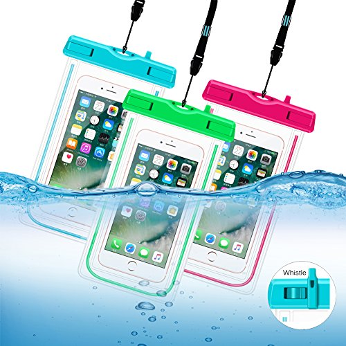Waterproof Case, 3 Pack Universal Cell Phone Dry Bag Floating Pouch For Iphone 7, 7 Plus, 6s, 6s Plu