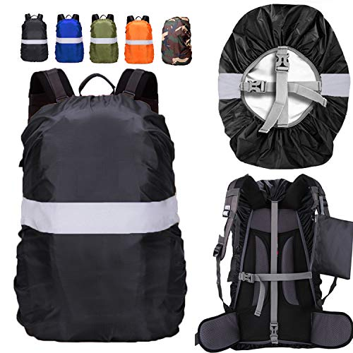 ZM-SPORTS 15-90L Backpack Rain Cover with Reflective Strip,with Vertical Adjustable Fixed Strap Avoid to Falling,Gift with Portable Storage Pack (Black with Reflective Strip, M(for 30-40L Backpack)
