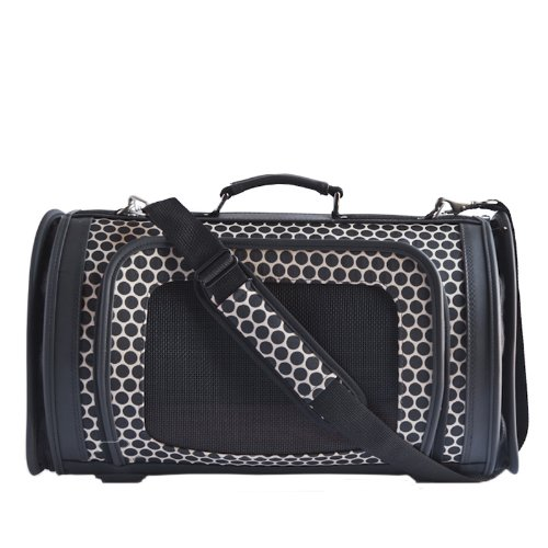 Petote Kelle Pet Travel Bag, Reverse Noir Dots, Large