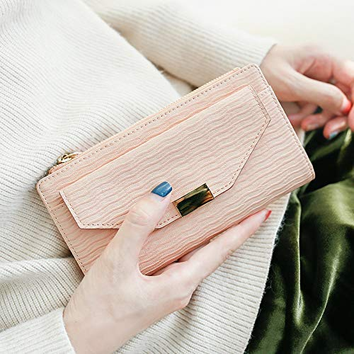 Women's Hand Holding Wallet Female Long Section Korean Version of The Tide Personality Simple New Thin Change Money Wallet (color   bluee) Ladies Purses (color   Pink)
