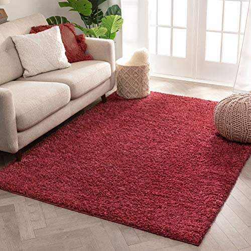 Well Woven Solid Color Red Soft Shag Area Rug 8×10 8×11 7'10″ x9'10