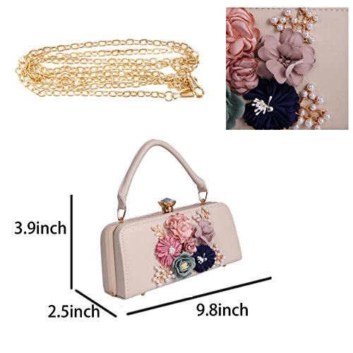 3D Rhinestone Pearl Evening And Beige For Clutch With Flower Party 1H6Iqxr1