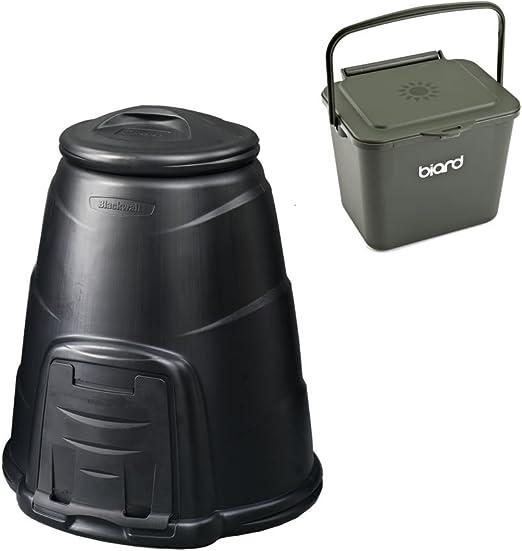 Compostador negro jardín de 220 L cubo de basura para abono con ...