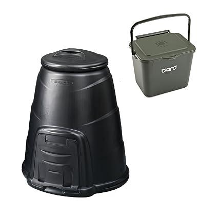 Compostador negro jardín de 220 L cubo de basura para abono con libre 5 litros verde