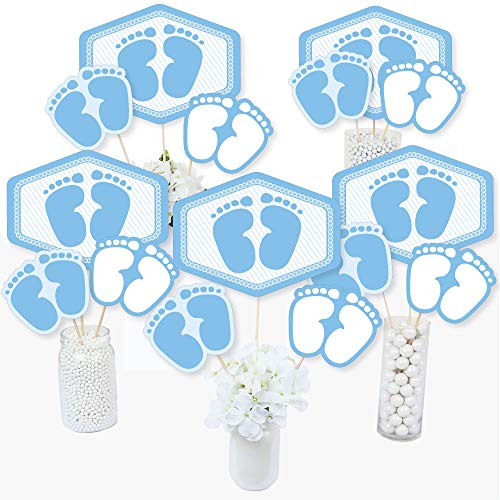 Baby Feet Blue - Boy Baby Shower Centerpiece Sticks - Table Toppers - Set of 15]()