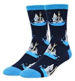 Men's Novelty Funny Crazy Shark Crew Cotton Socks, Cool Sharknado Design