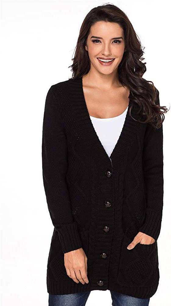 QYdress Women Long Sleeve Knit Cardigan Sweaters Button Down Sweater Coats with Pockets