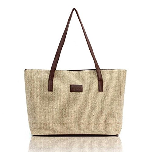 Anyada Shopping Totes Canvas Fashion Casual Women Shoulder Bags Linen Beige Handbag Beige 6rf6xZ