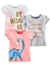 Toddler Girls' 3-Pack Short-Sleeve Graphic Tees