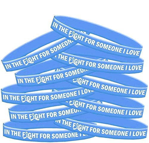 - in The Fight for Someone I Love Silicone Wristband Bracelet 10-Pack (Light Blue)