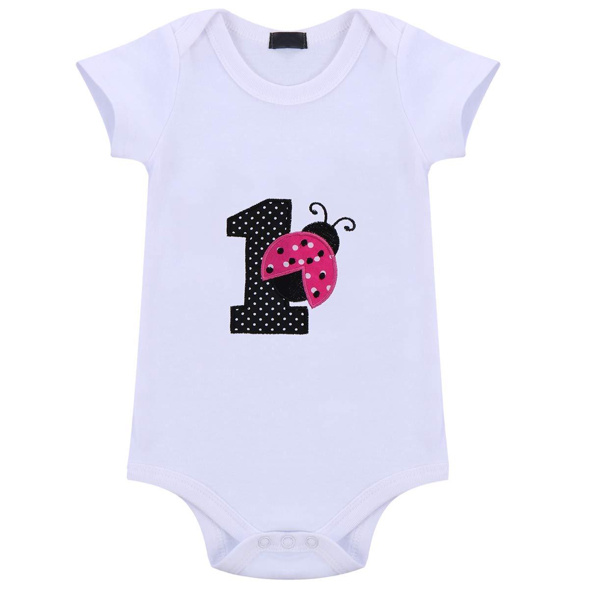 c135f239e6f75 Amazon.com: Baby Girls 3PCS Ladybug One Polka Dots 1st Birthday Outfit  Romper with Tutu Skirt and Headband Set Hot Pink: Clothing