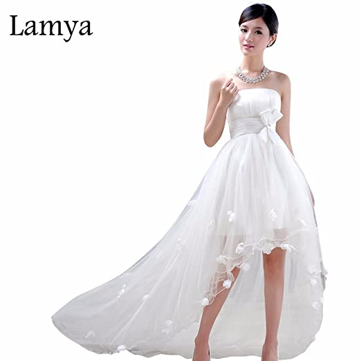 daff9e8f788 Image Unavailable. Image not available for. Color  Lamya Short Long Wedding  Dress Lace up Elegant ...