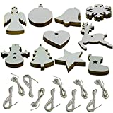 Onepine 50 Pieces 10 Styles 3 inch (8 cm) Wooden Christmas Hanging Ornaments Unfinished Wooden Ornaments with Holes with Natural Jute Twine for DIY Crafts,Christmas Party Decorations