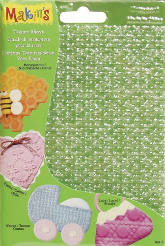 Clay Lace - Makin's USA Clay Texture Sheets, 7-Inch by 5-1/2-Inch, Honeycomb/Eyelet/Weave/Lace, 4 Per Package