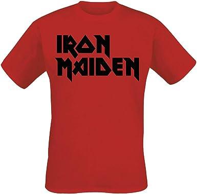 Iron Maiden Classic Logo Hombre Camiseta Rojo, Regular