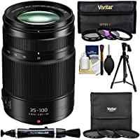 Panasonic Lumix G X Vario 35-100mm f/2.8 II ASPH Power OIS Zoom Lens with 3 UV/FLD/CPL & 3 ND2/ND4/ND8 Filters + Tripod + Lens Pen + Kit