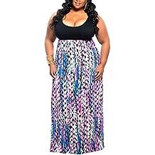 WearLove Women's Plus Size Scoop Neck Sleeveless Tank Top Chevron Zig Zag Stripe Maxi Dress