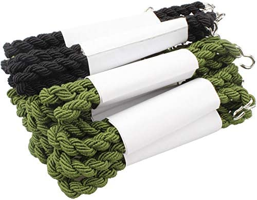 SelfTek 24 Pieces Elastic Boot Straps Military Boot Bands Blousing Garters with Metal Hooks for Navy Army Air Force Black and Green