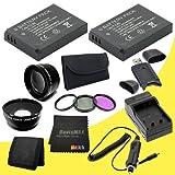 TWO EN-EL20 Replacement Lithium Ion Battery + External Rapid Charger + 40.5mm 3 Piece Filter Kit + Wide Angle Lens + 2x Telephoto Lens + SDHC Card USB Reader + Memory Card Wallet + DavisMAX MicroFiber Cloth for Nikon 1 J1 Digital SLR Camera DavisMAX ENEL2