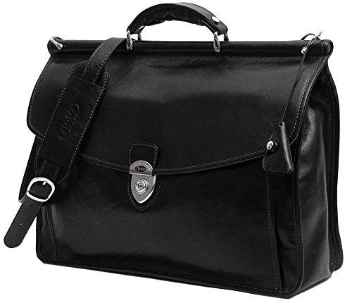 Firenze Dowel Messenger Brief in Black Italian Calfskin Leather by Floto