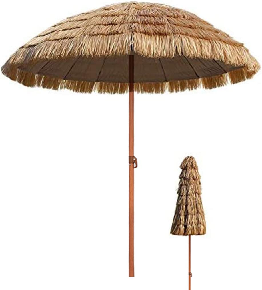 TX Ø 7.8ft / 2.4m Sombrilla de sombrilla de Paja de Playa Tropical Hawaiana, sombrilla Impermeable al Aire Libre para sombrillas de Patio de Piscina de jardín Redonda con función de inclinación