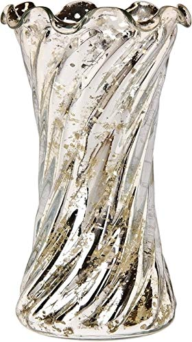 Luna Bazaar Vintage Mercury Glass Vase (6-Inch, Grace Ruffled Swirl Design, Silver) - Decorative Flower Vase - For Home Decor and Wedding Centerpieces (Glass Vases Mercury)