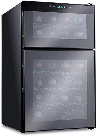 Atten Zona Dual del refrigerador de Vino, Independiente y Construido en el refrigerador de Vino termoeléctrico Mostrador Rojo y Blanco Bodega Digital Pantalla de Temperatura de 24 Botellas
