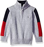 Tommy Hilfiger Toddler Boys' Long Sleeve Half Zip Pullover Sweater, Eddie Grey Heather 3T