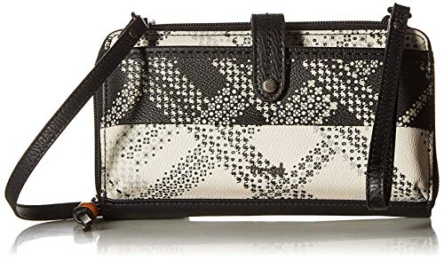 The Sak Iris Large Smartphone Crossbody, Black/White Floral Plaid