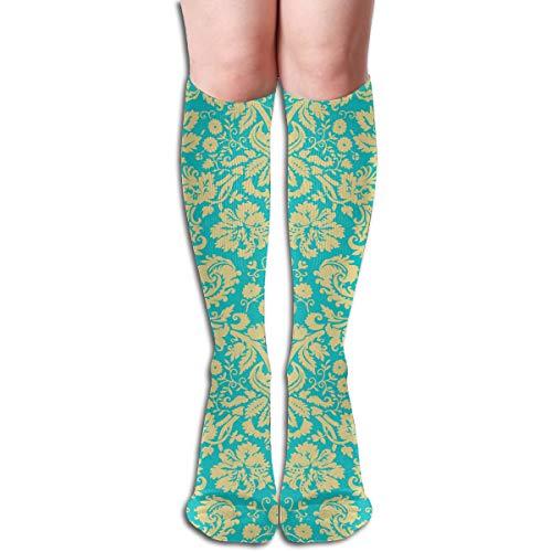 Socks Damask Yellow Blue Designer Womens Stocking Accessory Sock Clearance for Girls