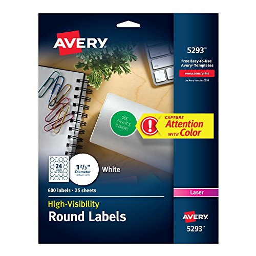 Avery High Visibility 1-2/3 Inch Diameter White Labels 600 Pack (5293) (Round Avery Labels)