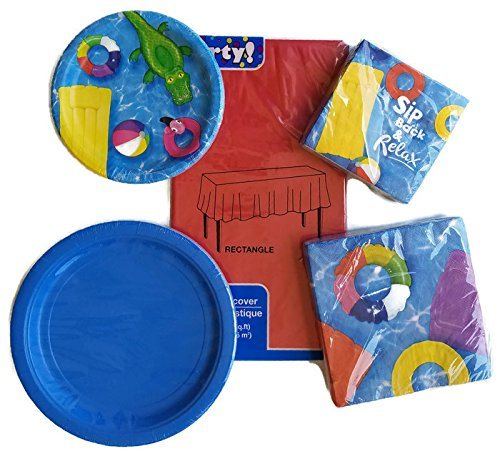 Beach-Ball-Pool-Party-Paper-Plate-Napkin-and-Tablecloth-Set-of-5-Service-for-18