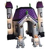 Sayok 15ft Tall Inflatable Halloween Haunted House with Inflatable Gargoyle with Lightings Yard Decoration